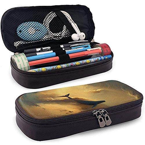 Baleines sur l'étui à crayons en cuir au fond de la mer, trousse de maquillage de voyage, boîte à étuis