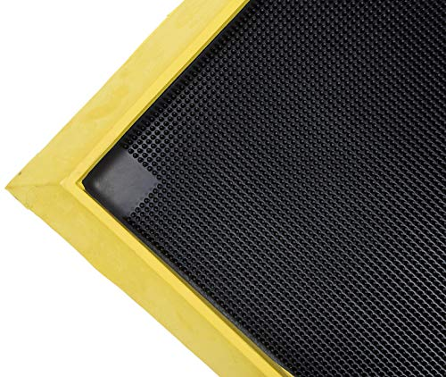 "Notrax 351 Sani-Trax Plus Disinfectant Mat, Shoe Sanitizing Mat for Entryways, 32""x39"", Black/Yellow, 351S3239YB"