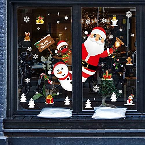 UMIPUBO Natale Adesivi Porta Natale Vetrofanie Addobbi Fai da te Finestra Sticker Decorazione Babbo Natale Adesivi Rimovibile Statico Adesivi (Natale)