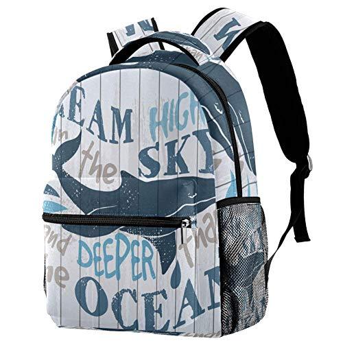 Desconocido Mochila Shark and Words On Board School Bookbag Senderismo Mochila de Viaje