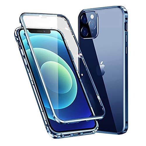 MOSSTAR Funda Compatible con iPhone 12 Mini 5,4',360 Grados Carcasa Completa, Adsorción Magnética, Marco de Metal, con Protector de Pantalla Incorporado, Cristal Templado Transparente Case,Azul