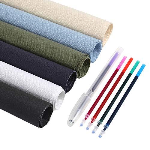 Caydo 6 piezas de tela de algodón para bordado, incluyendo 6 colores bordado tela, 5 colores solubles en agua plumas para proyectos de bordado y decoración de tapicería, 30 x 30 cm