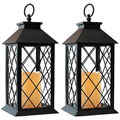 "Bright Zeal 2-Pack 14"" Vintage Candle Lantern With LED Flickering Flameless Candle (Black, 6hr Timer) - Battery Powered Candle Lantern Outdoor - Decorative Hanging Lantern For Patio - Tabletop Lantern by BRIGHT ZEAL HOME LED PRODUCTS LLC"