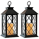Bright Zeal 2-Pack 14' Vintage Candle Lantern With LED Flickering Flameless Candle (Black, 6hr Timer) - Battery Powered Candle Lantern Outdoor - Decorative Hanging Lantern For Patio - Tabletop Lantern