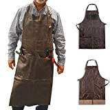 Woodland Leather Welding Apron with 4 Pockets Heavy Duty Workman Apron Waxed Canvas Waterproof Tool Apron...