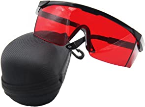 AJSR Laser Safety Glasses with Adjustable Temple, Red Lens, Black Frame, with Case