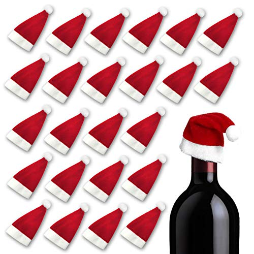 RENYIH 24pcs Mini Santa Hat Wine Bottle Covers Silverware Holders Dolls Hat Home Christmas Decor