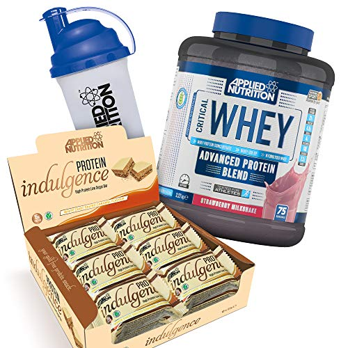 Applied Nutrition Bundle Critical Whey Protein Powder Shake 2.27kg + Protein Indulgence High Protein Low Sugar Bar Box 12 x 50g + 700ml Shaker (Whey Strawberry + Indulgence White Choc)