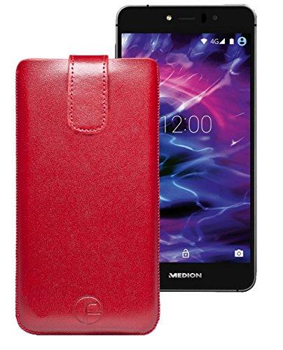 Original Favory Etui Tasche für MEDION LIFE X5520 (MD 99607) | Leder Etui Handytasche Ledertasche Schutzhülle Hülle Hülle Lasche mit Rückzugfunktion* in rot