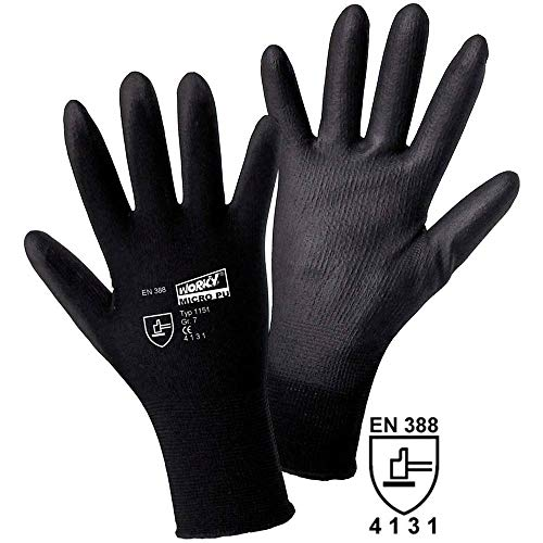 L+D worky MICRO black Nylon-PU 1151 Nylon Arbeitshandschuh Größe (Handschuhe): 7, S EN 388 CAT II 1 Paar