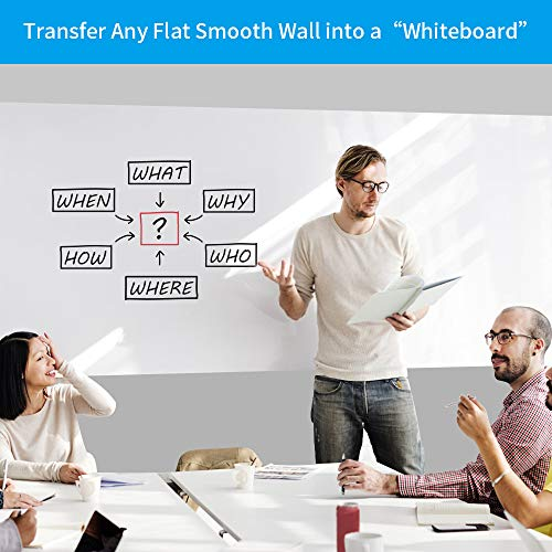 White Board Sticker, White Board Roll, White Board Paper, Dry Erase Contact Paper, Removable and Reusable, PET No Ghost White Board for Wall, Tables, Doors, Chalkboards, 17.3 x 84.3 inch-2 Rolls Photo #4