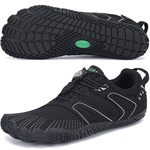 SAGUARO Hombre Mujer Zapatillas de Training Yoga Entrenamiento Gym Interior Transpirables Zapatos Correr Barefoot Resistentes Comodas Zapatos Gimnasio Asfalto Playa Agua Exterior(059 Negro, 39 EU)