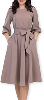 AOOKSMERY Women Elegance Audrey Hepburn Style Round Neck 3/4 Puff Sleeve Puffy Swing Midi Dress with Belt