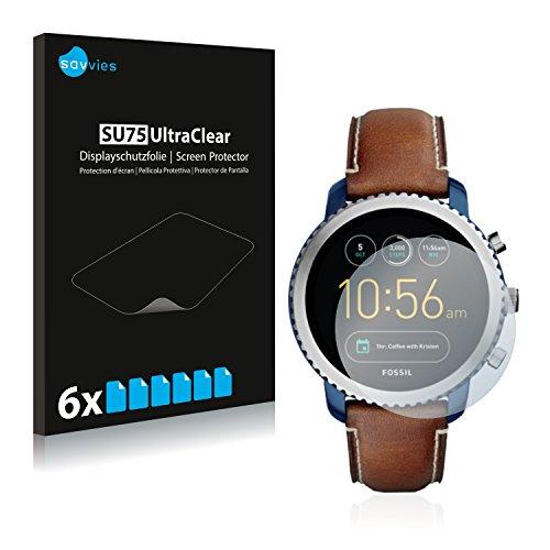 Savvies 6X Schutzfolie kompatibel mit Fossil Q Explorist (3.Gen) Bildschirmschutz-Folie Ultra-transparent