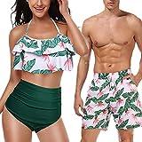 Mujeres Trajes de baño de 2 Piezas Hombres Traje de baño Pareja Conjunto de Bikini de Cintura Alta Hombres1 XL
