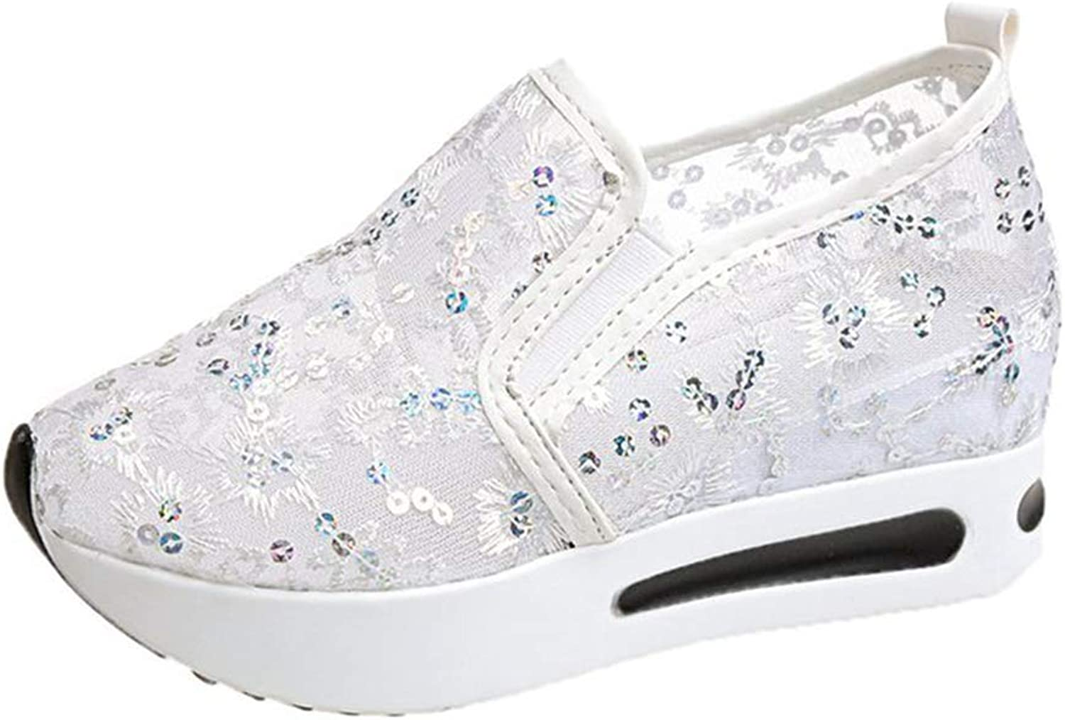 GilesJones Flats Loafers Women,Summer Hollow Lace Floral Round Toe Slip-On Platform shoes