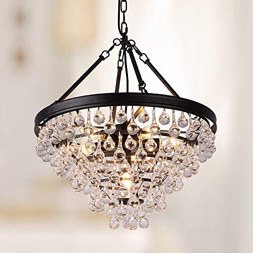 Wellmet Lampadario moderno a sospensione con 6 luci, diametro 50 cm, rotondo, in cristallo, a 5 strati, per soggiorno, sala da pranzo, camera da letto, tavolo da pranzo