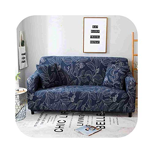 Onln 2021 Geometric Elastic Sofa Cover for Living Room Modern Sectional Corner Sofa Slipcover Couch Cover Chair Protector 1/2/3/4 Seater-Navy Leaves-1-seater 90-140cm