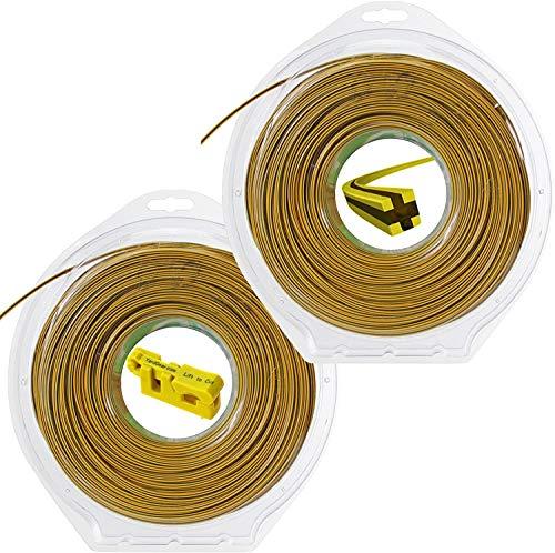 Spares2go Bi-comp Extra rigide carré Débroussailleuse Ligne de coupe (80 metres X 2)