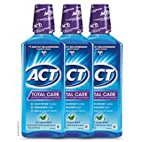 ACT Total Care Anticavity Fluoride Mouthwash 18 fl. oz. 3pk Kills Bad Breath Germs, Icy Clean Mint