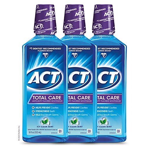 ACT Total Care Anticavity Fluoride Mouthwash, 18 fl. oz. (Pack of 3), Kills Bad Breath Germs, Icy Clean Mint