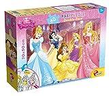 Liscianigiochi-Puzzle Maxi Floor 50x70 cm Doble Cara con reverso para colorear 60 piezas Disney Princesas Puzle para niños, (42665)