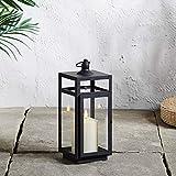 Lights4fun Farol en Metal Negro de 29cm con Vela LED TruGlow® a Pilas para Decoracion Exteriores
