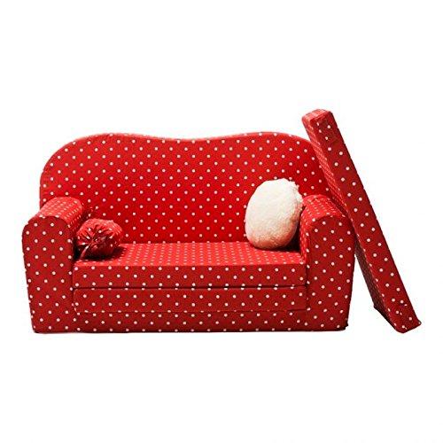 Gepetto Maxi Kindersofa rot mit Klappmatratze Plus extra Kissen I Sofa für das Kinderzimmer mit Liegefunktion als Gästebett