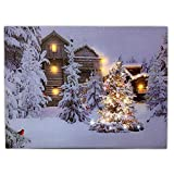 BANBERRY DESIGNS Lighted Christmas Scene - LED Canvas Print with Cabins Cardinals and Trees in an Outside Winter Scene