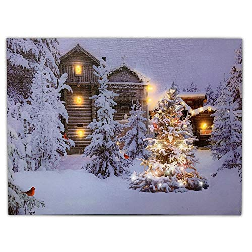 BANBERRY DESIGNS Lighted Christmas Wall Art - 12 x 16 Canvas Print with Cabins Cardinals and Trees in an Outside Winter Scene - Winter Picture with LED Lights