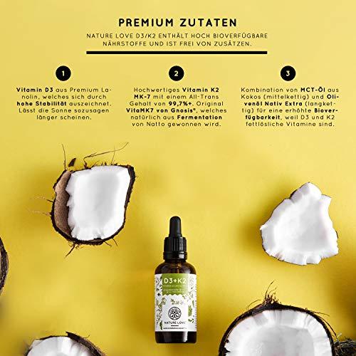 NATURE LOVE® Vitamin D3 + K2 (50ml flüssig) - Hoch bioverfügbar durch Original VitaMK7® 99,7% All-Trans + laborgeprüfte 1000 I.E. Vitamin D3 pro Tropfen - Hochdosiert, in Deutschland produziert - 2