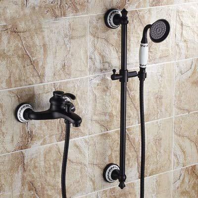 with hand shower black orb shower Bathroom black wall shower mixer set with lifter shower bar bath simple bathtub mixer set,Yellow