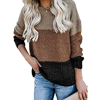Women's Oversized Crewneck Sweaters Loose Chunky Knitted Pullover