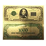 blinkee Collectible 1000 Dollar American Bill 24k Gold Plated Fake Banknote Currency for Decoration