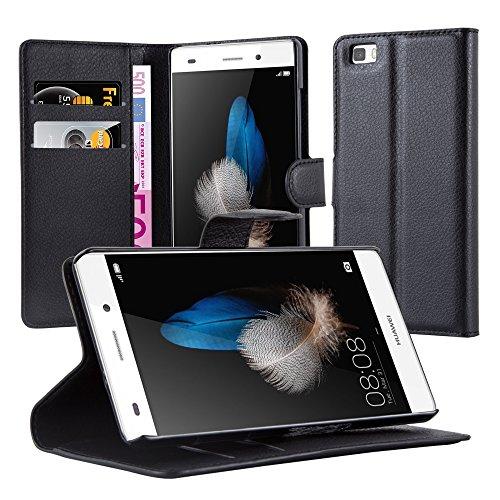 Cadorabo Funda Libro para Huawei P8 Lite 2015 en Negro Fantasma - Cubierta Proteccíon con Cierre Magnético, Tarjetero y Función de Suporte - Etui Case Cover Carcasa