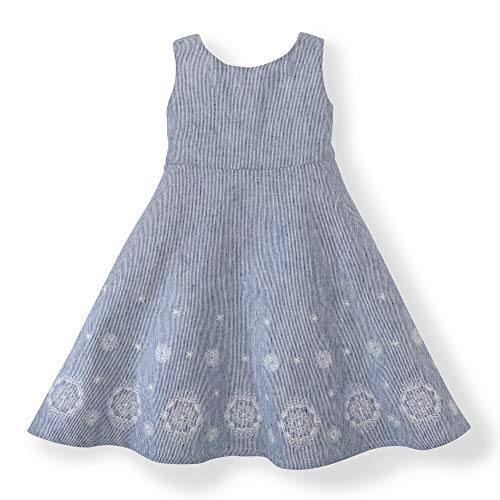 Hope & Henry Girls' Blue Dress with an Emroidered Hem