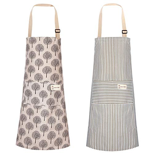 2 Pieces Linen Cooking Apron Adjustable Kitchen Apron Soft Chef Apron with Pocket for Women and Men