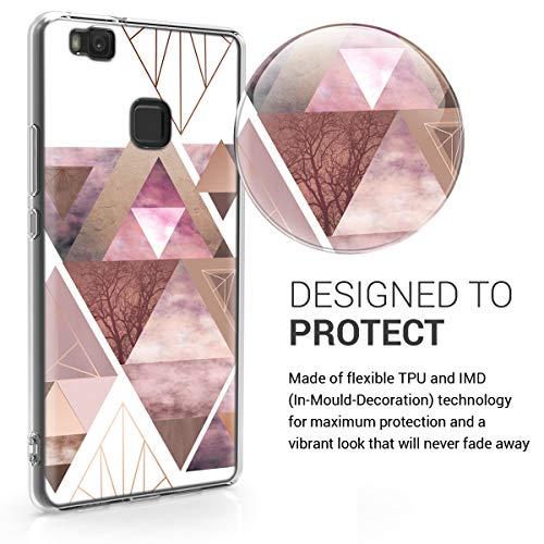 kwmobile Huawei P9 Lite Hülle - Handyhülle für Huawei P9 Lite - Handy Case in Glory Dreieck Muster Design Rosa Rosegold Weiß - 3