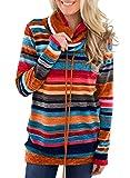 GOSOPIN Damen Sweatshirt Gestreift Rollkragen Pullover Loose Tops Langarm Tunik S-XXL für Herbst&Winter&Frühling