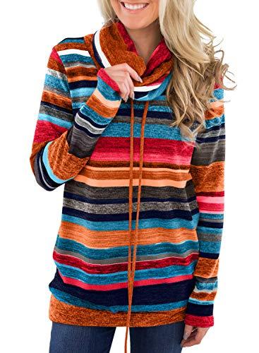 GOSOPIN Damen Sweatshirt Gestreift Rollkragen Pullover Loose Tops Langarm S-XXL (XL, 15)