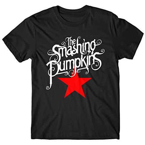 LaMAGLIERIA Camiseta Hombre The Smashing Pumpkins Red Star Script Logo - Camiseta Punk Rock 100% algodòn, L, Negro