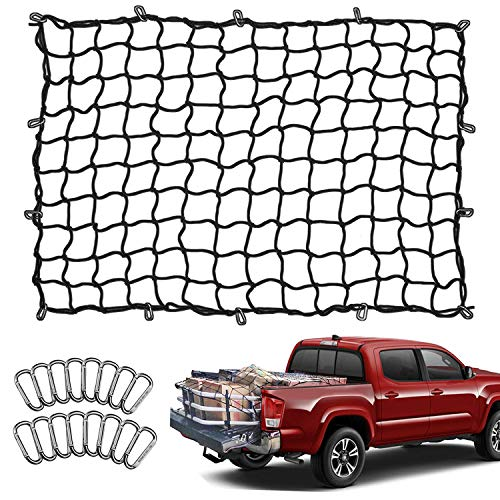 Seven Sparta 5' x 7' Bungee Cargo Net Stretches to 10' x 14' for Truck Bed, Pickup Bed, Trailer, Trunk, SUV with 16 Bonus D Clip Carabiners Universal Heavy Duty Car Rear Organizer Net for Large Loads