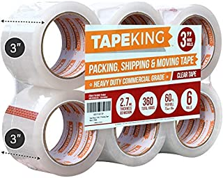 Tape King Clear Packing Tape 3 Inch Wide (2.7mil Thick) - 60 Yards Per Refill Roll (Pack of 6 Rolls) - Strong Sealing Adhesive Industrial Depot Tapes for Moving, Packaging, Shipping, Office & Storage