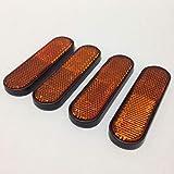 Motorcycle, Dirt Bike, ATV, Amber Plastic Fork Leg Reflective Sticker Reflectors KM-206-3-YE (4-Pack)