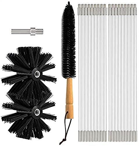 LIUPING Chimney Typhoon Power Sweeping Set, Chimney Brush Drill Kits De Herramientas De Barrido De Limpieza Rotativas con Secador con Secador De Pelusa Cepillo Y Llave