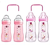 am botellas biberones Easy Active Juego Girl 2 x Baby Bottle 270 ml & 2 x 330 ml Con Aspiradora Talla 1 & 2 Incluye 2 x My Bottle asas Rosa