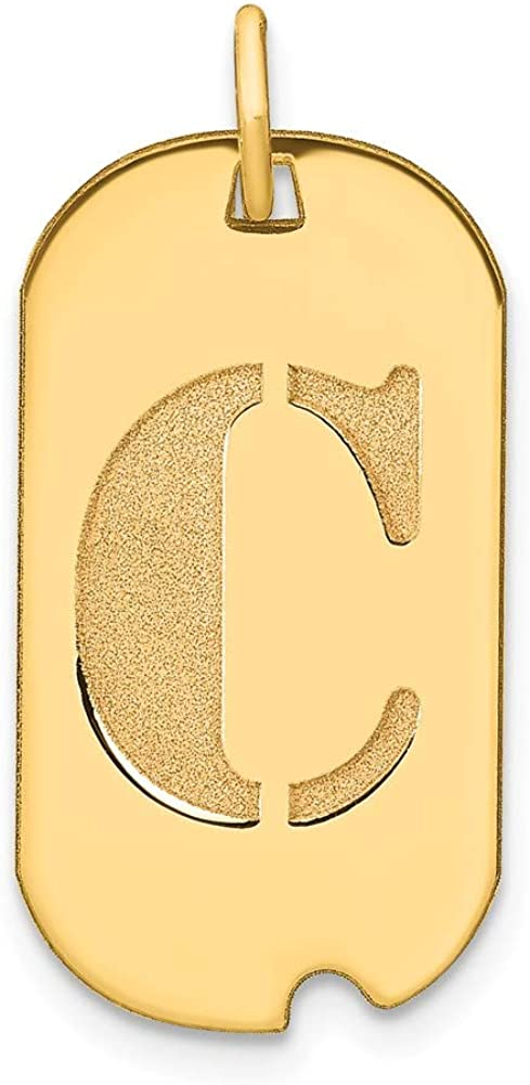 Solid 14k Purchase Yellow Gold Letter C wholesale Dog Pendant Initial Tag Charm