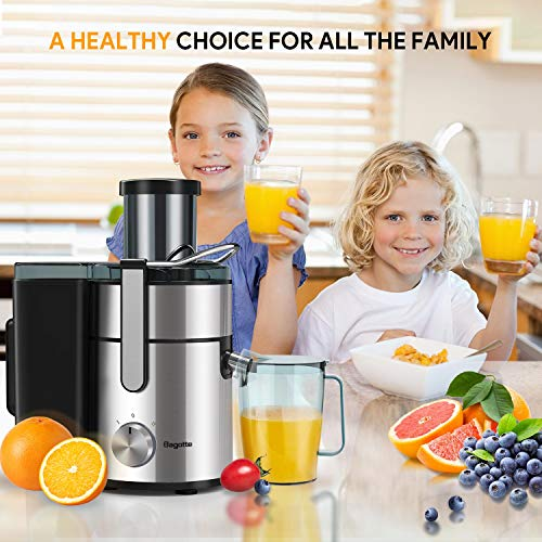 Juicer, Bagotte Upgraded 85mm Wide Mouth 800W Large Juicer Machine, Dual Speed Settings Juicers Whole Fruit and…