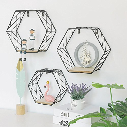 Estante de pared de hierro geométrico hexagonal para colgar en la pared, decoración de pared para sala de estar, estantes flotantes para almacenamiento con marco