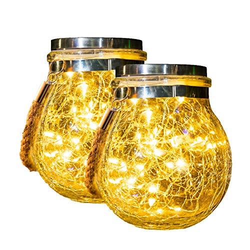 Lampions Solar Außen, Solarlampen Für Außen,30 Led Wasserdicht Solar Einmachglas Aussen Lampions, Solarlaterne, Gartendeko Solarleuchten Für Weihnachten,Balkon deko,Garten, Party,Baum,Warmweiß 2 Pack